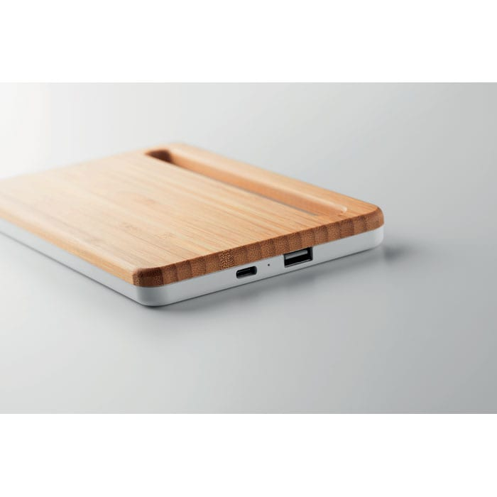 Wireless charger with bamboo top