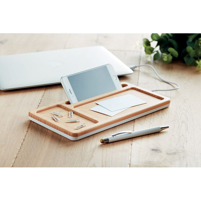Wireless charger storage box with bamboo top