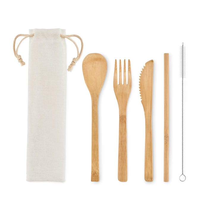 Bamboo cutlery with straw and pouch