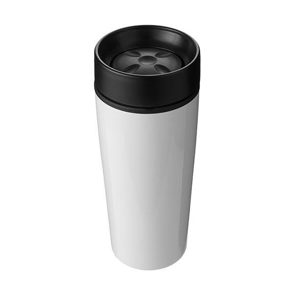 Coloured double wall metal travel mug